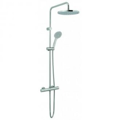 Vado velo round thermostatic rigid riser shower with handset VEL149RRKDIVSTCP
